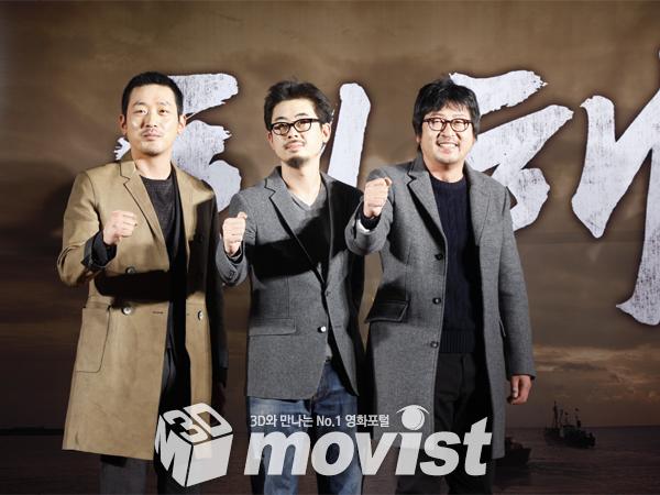 (왼쪽부터)하정우, 나홍진 감독, 김윤석